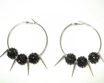 Small hoop spiked earrings, Silver hoops, Cute small hoops, Silver spiked hoops, Spiked jewelry, Fashion hoops, Cute Small earrings.