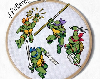 4 different Teenage Mutant Ninja Turtles Cross Stitch Patterns Leonardo, Michelangelo, Raphael, Donatello, tmnt with pdf