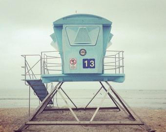 Beach Photo, Lifeguard Tower Photo, California Beach Photo, #13 Lifeguard art, Dana point, Doheny Beach, Instant Digital Download JPEG file