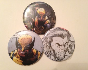 Wolverine Comic Book Button 3 pack