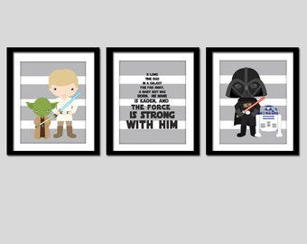 star wars bedroom wall art prints, set of 3, customized name Star Wars wall art or nursery art (3) 8x10 PRINTS, shipped to your door!
