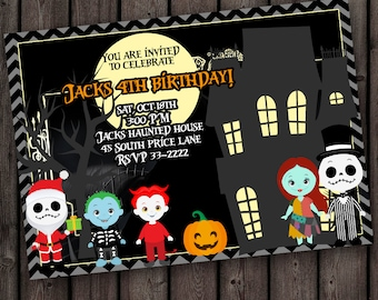 nightmare before christmas invitation, birthday or halloween party invitation, customized wording