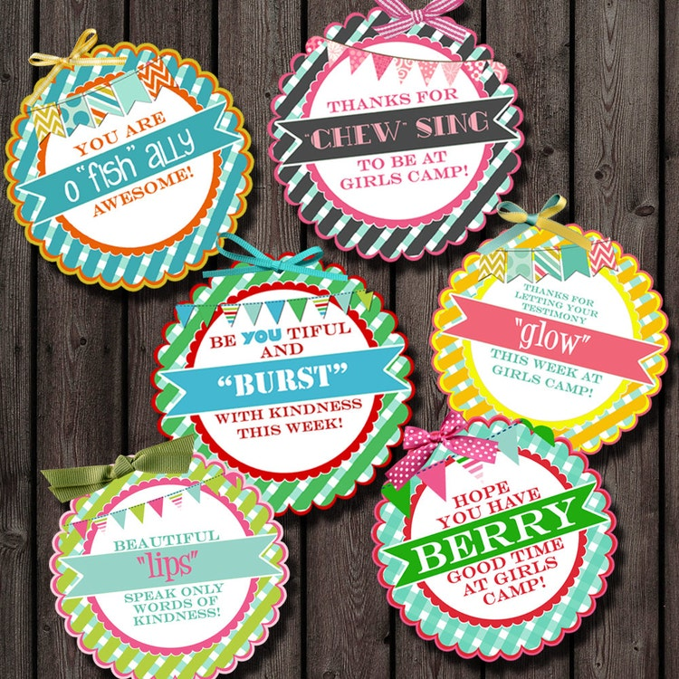 Girls Camp Pillow Gift Tags Young Women Tags By