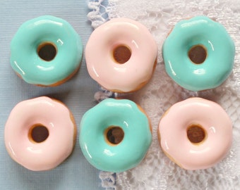 6 Pcs Pink and Blue Doughnut Cabochons - 14mm