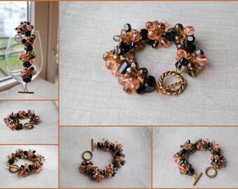 Natural black agate Natural smoky quartz Czech glass crystal beads bracelet