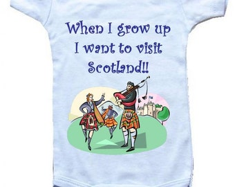 Baby One-Piece Body Suit -Personalized Gifts-s- When I Grow Up I Want To Visit Scotland -CreativeIdeas Baby Designs - White, Pink, or Blue
