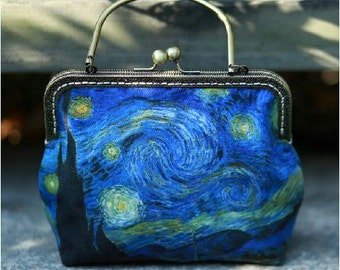 FineArt Collection Vintage style Van Gogh's Starry Night bag clutch