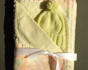 Personalized Baby Blanket and Hat.