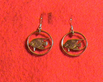 Hand cut Bermuda nickel with fish made to earrings and 24 kt gold plated