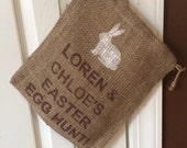 Easter Egg Hunt Burlap Bag / Easter Basket with BUNNY,  Personalized with 2 names, jute bag for easter