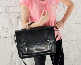black leather messenger bag,  leather satchel, handmade leather bag, leather shoulder bag