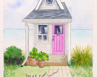 Little House & Seashell #5, original watercolor landscape painting