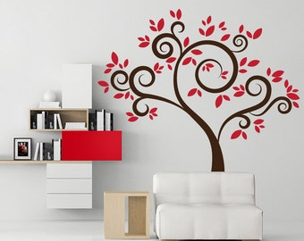 Red tree wall decal home wall decor