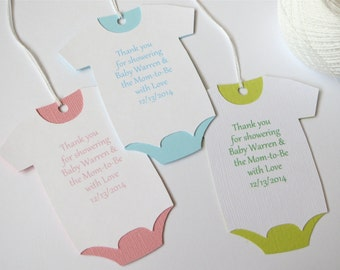 Large Baby Shower Thank You Tags, Custom Baby Shower Favor Tags, Onesie Baby  Shower