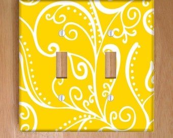 Silent Era, Yellow Vinyl Double Light Switch Cover, Outlet Cover, Wallplate, Home Decor, Swirls, Yellow and White, Elegant, Vinyl Wall Cover
