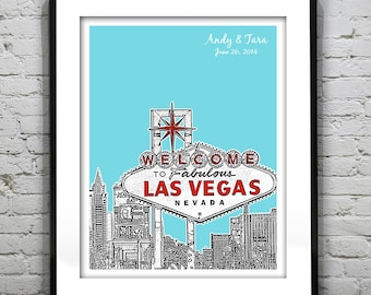 Las Vegas Wedding Gift Guest Book Guestbook Poster Print -City Skyline Nevada NV Version 2