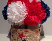 Patriotic Centerpiece / 4th of July Decoration - Blue, White & Red