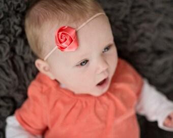 Coral Satin Rosette Headband, Coral Headband, Bitty Band, Coral Mini Rosette Headband, Baby Headband, Toddler Headband, Skinny Headband