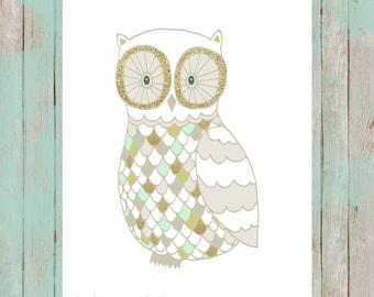Gold glitter and mint owl.  8x10 digital printable.  Nursery/home decor digital print.