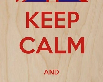 Keep Calm and Go To England British UK Flag - Plywood Wood Print Poster Wall Art WP - DF - 0588