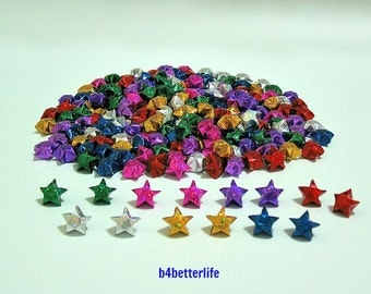 Lot of 210pcs Medium Size Origami Lucky Stars Hand-folded From 24.5cm x 1.2cm Paper strips . (4D Glittering paper series).