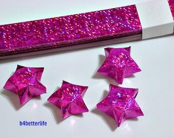 70 Strips of PINK Color DIY Origami Paper Stars Folding Kit For Big Lucky Stars. 50cm x 1.8cm. (4D Glittering paper series). #SPK-177.