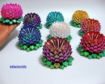 Lot of 9pcs Medium Size Origami Lotus in 9 Different Colors. (TX Paper Series). #FLT-63.