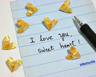 100pcs Yellow Color Mini Size 3D Origami Hearts LOVE. (TX paper series). #FOH-133.