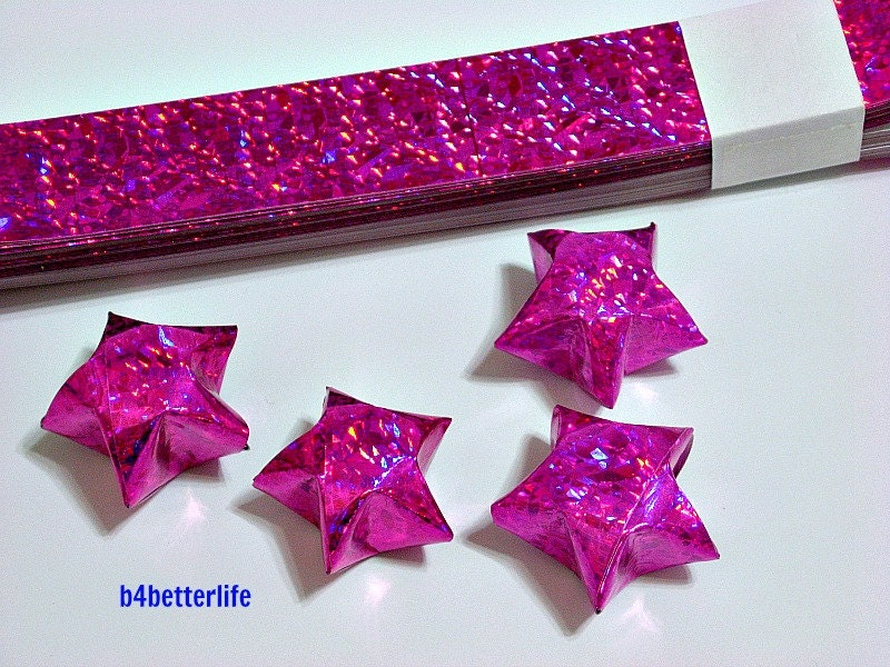 70 strips of pink color diy origami paper stars folding for Diy lucky stars