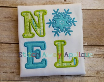 Christmas Winter NOEL Snowflake Machine Embroidery Applique Design