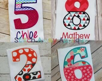 Split Halves Applique Number Set Machine Applique Design