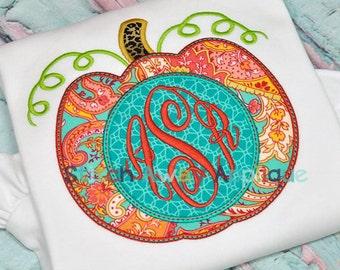 Monogram Circle Pumpkin Machine Applique Design