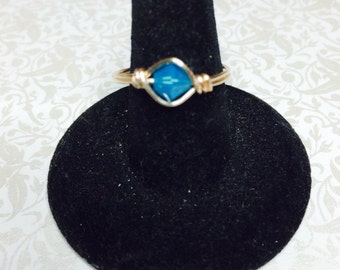 Caribbean blue opal crystal wire wrapped ring