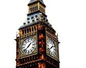Big Ben Pop Art Photography / London Travel Print / Home Decor / Orange / Blue / Wall Art / Fpoe / Westminster / Clock Tower