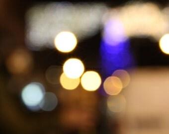 Christmas Lights / Blue and Yellow Gold Bokeh Lights Print / Abstract Photography / fpoe / Holiday Decor / Wall Art