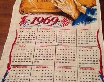 Vintage 1969 Linen Calendar Towel