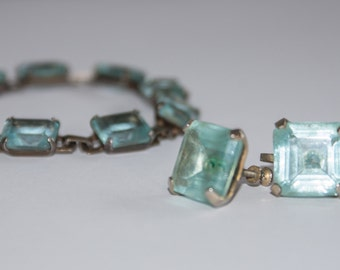 Lovely faux aquamarine and gold earrings and bracelet set