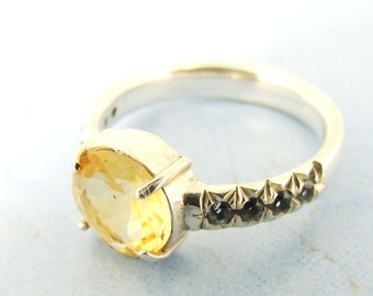 Citrine and Topaz  ring, Citrine engagement ring,Natural Citrine, Yellow gemstone ring, Solitaire ring sterling silver