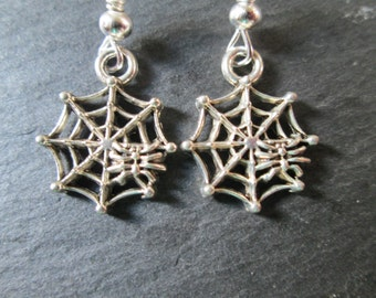 Petite Spiderwebs with Spiders Silver Dangle Earrings