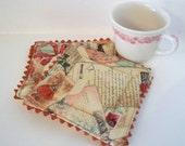 Valentine Love Letters Fabric Coaster Coffee Mug Rug