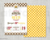 BBQ Adult Milestone Birthday Invitation Burgers & Beer Barbecue Party Invite Summer Cookout Grill 21st 30th 40th 50th 60th 70th 80th 90th
