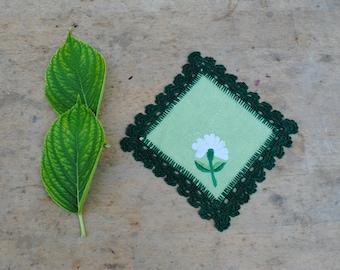 green  handmade vintage doily . embroidery,crochet
