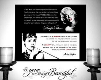 Marilyn Monroe Audrey Hepburn Print Black White Quote Poster Believe Appreciate Trust Woman Beauty Love