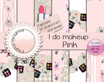 I do make up pink - 12 sheets - instant download.