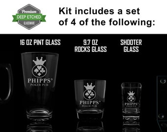 Custom Home Bar Kit, Includes Etched Mugs, shooter glasses, rocks glasses, coasters, pint glasses all Personalized with Poker logo to match