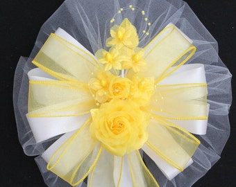 Golden Yellow Pearl Floral Wedding Bow - Church Pew Decorations, Wedding Aisle Decorations, Wedding Ceremony Bow, Wedding Chair Bows