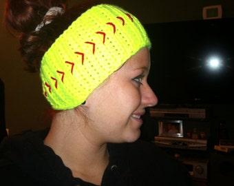 Crochet softball or baseball headwrap