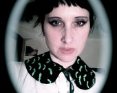 Wednesday Addams Inspired Green Bat Peter Pan Detachable Collar