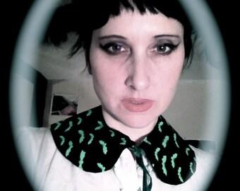 Wednesday Addams Inspired Green Bat Peter Pan Detachable Collar