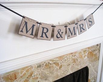 Mr and Mrs banner, bridal shower banner, bride and groom banner, bride & groom sign, mr and mrs sign, rustic wedding banner, country wedding
